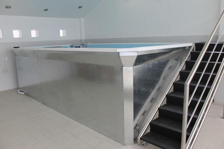 Escalera para hidroterapia con huellas en antiderrapante negro y barandal de acero inoxidable con protecciones de barra.