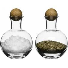 Spice/herb storage with oak stoppers 2 pack
