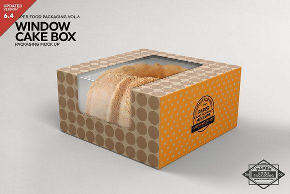 Download Cake Window Box Packaging Mockup Packaging Mockup Cake Packaging Food Box Packaging