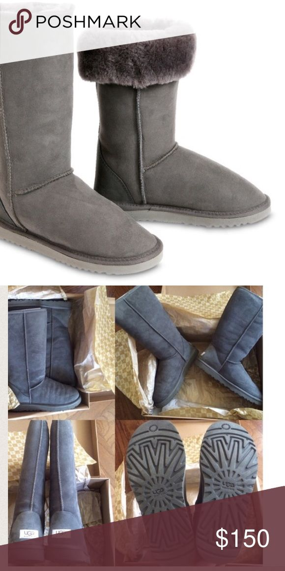UGG Australia grey boots Got as a present last year but only worn about three times. Realized they were too big for me, In excellent (barely used) condition. Shows some creases from normal first wear | 100% authentic! Guaranteed - bring to any ugg store and they'll tell you it's real. Please make an offer if you think my price is too high 💎 UGG Shoes Winter & Rain Boots