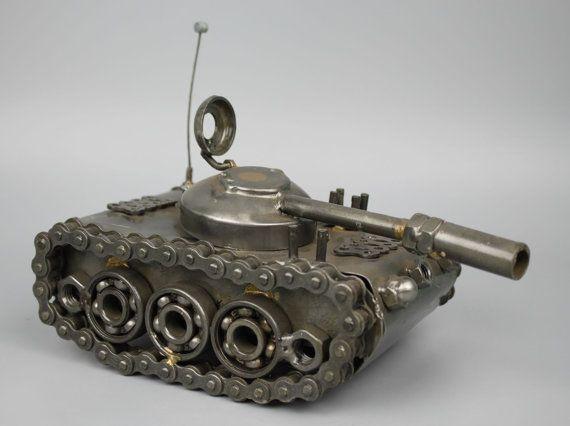 Scrap Metal Sculpture Model Recycled Handmade Art Tank by LuxFair
