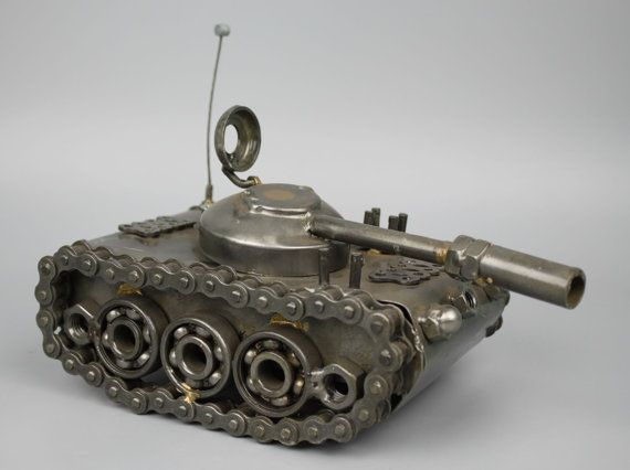 Scrap Metal Sculpture Model Recycled Handmade Art Tank by LuxFair