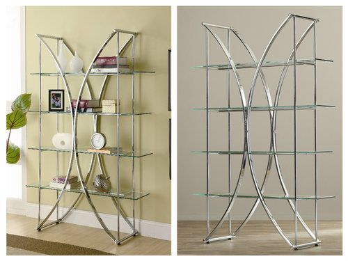 Modern-Metal-Etagere-Glass-Display-Bookcase-Decorative-Open-Shelf-Office-Accent