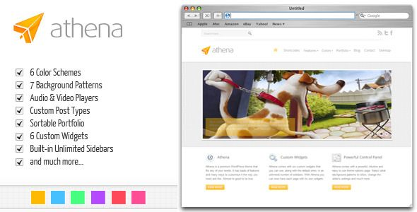 Athena: Premium Business/Portfolio WordPress Theme   http://themeforest.net/item/athena-premium-businessportfolio-wordpress-theme/239947?ref=damiamio                   	 Athena is a powerful business/corporate/portfolio & blog premium WordPress theme jam-packed with features.  	 Athena comes with 7 custom widgets, 6 color styles, 7 background patterns, sortable portfolio and featured slider custom post types, custom contact form, sitemap template, and much more.  	 If you're a multimedia…