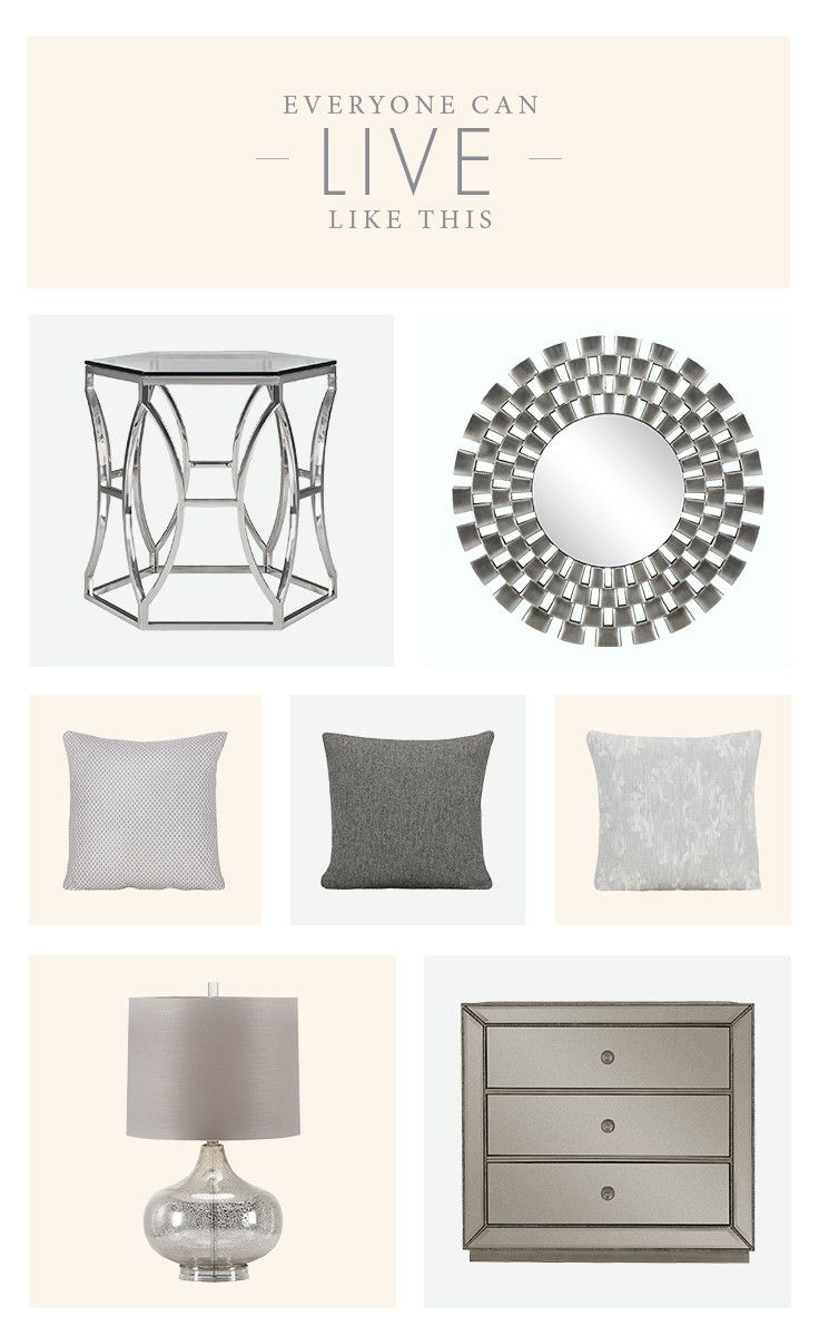 Metallic home accents are the season's favorite. Join the trend by adding an end table, wall art, table lamp, or pillow to your space.