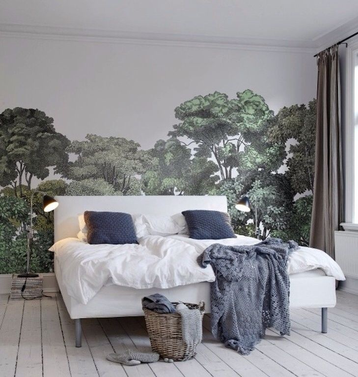 Eclectic Master Bedroom with Linen curtains, Rebel Walls Bellewood Wallpaper, Crown molding, Ikea Bekkestua Bed Combination
