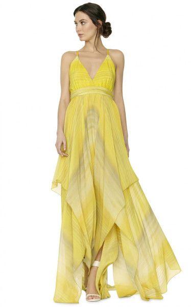 Alice + Olivia Tonia Spaghetti Strap Dress in Yellow (PAINTED GRADIENT)
