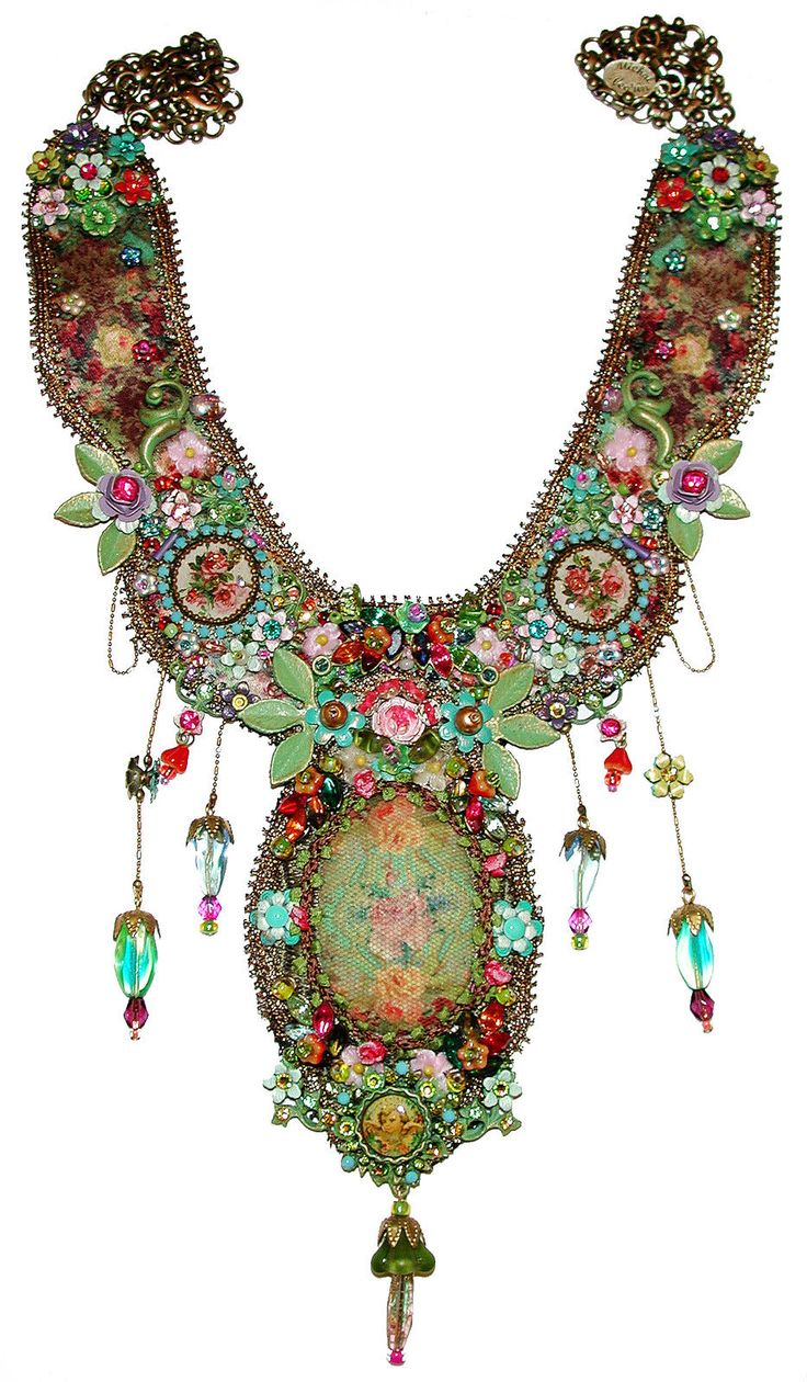 Mouse over image to zoom Have one to sell? Sell now Michal Negrin Multicolor Antique Style Flowers Cameos Crystal Beads Necklace