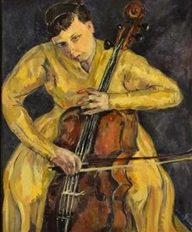 Portrait Of Vera Poppe Playing The Cello - Irma Stern