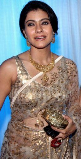 Kajol gorgeous in Shehlaa by Shehla Khan https://www.facebook.com/ShehlaaByShehlaKhan Lace #Saree and #Gold #Jewelry ::