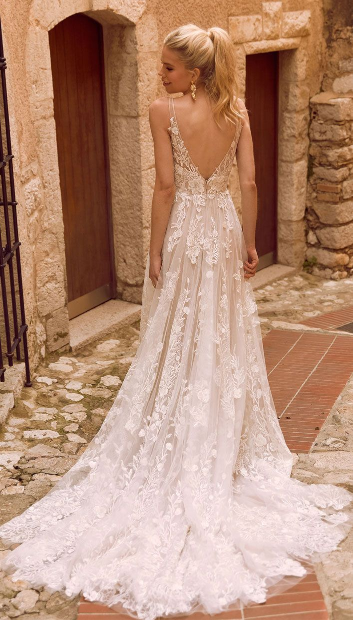 A perfect secret garden wedding gown – rich botannical embroidered lace applique…
