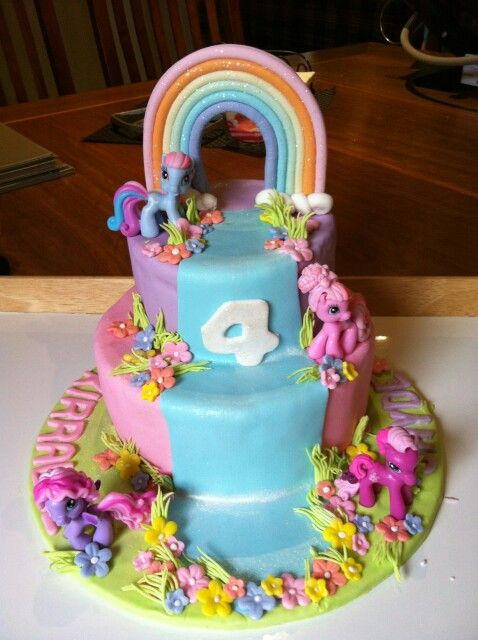 Twins, four, my little pony cake
