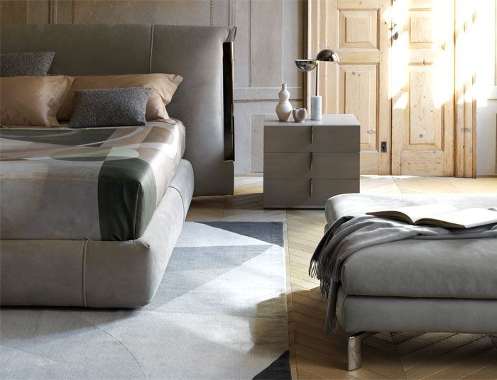 Carlo Colombo designed Amal bed and lamp for Flou | Bed
