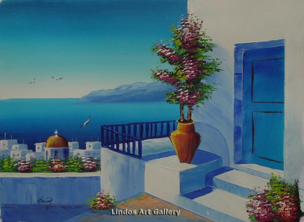 Greek House Red Church and Sea Seaview Oil Painting