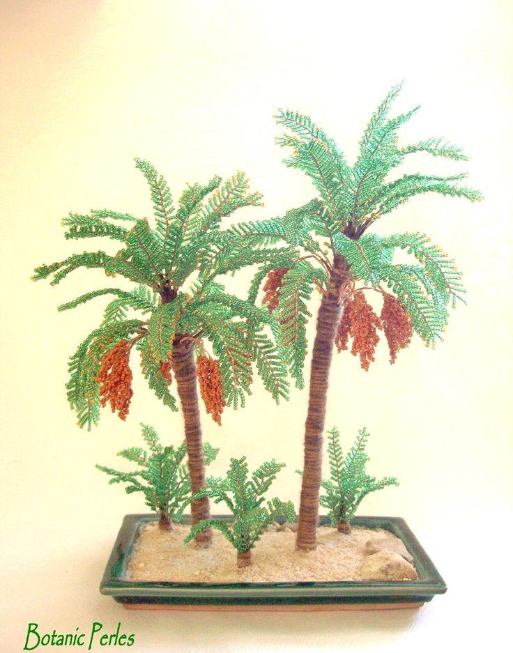 Beaded palm trees - Palmiers dattiers en perles de rocaille, soucoupe verte : Accessoires de maison par botanic-perles