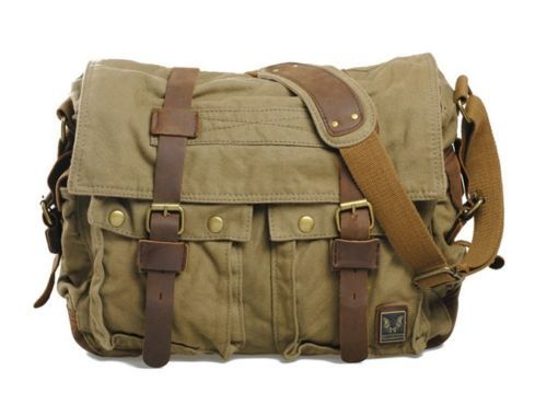 Vintage Men's womens Military Canvas Leather Shoulder Messenger School Bag new | eBay