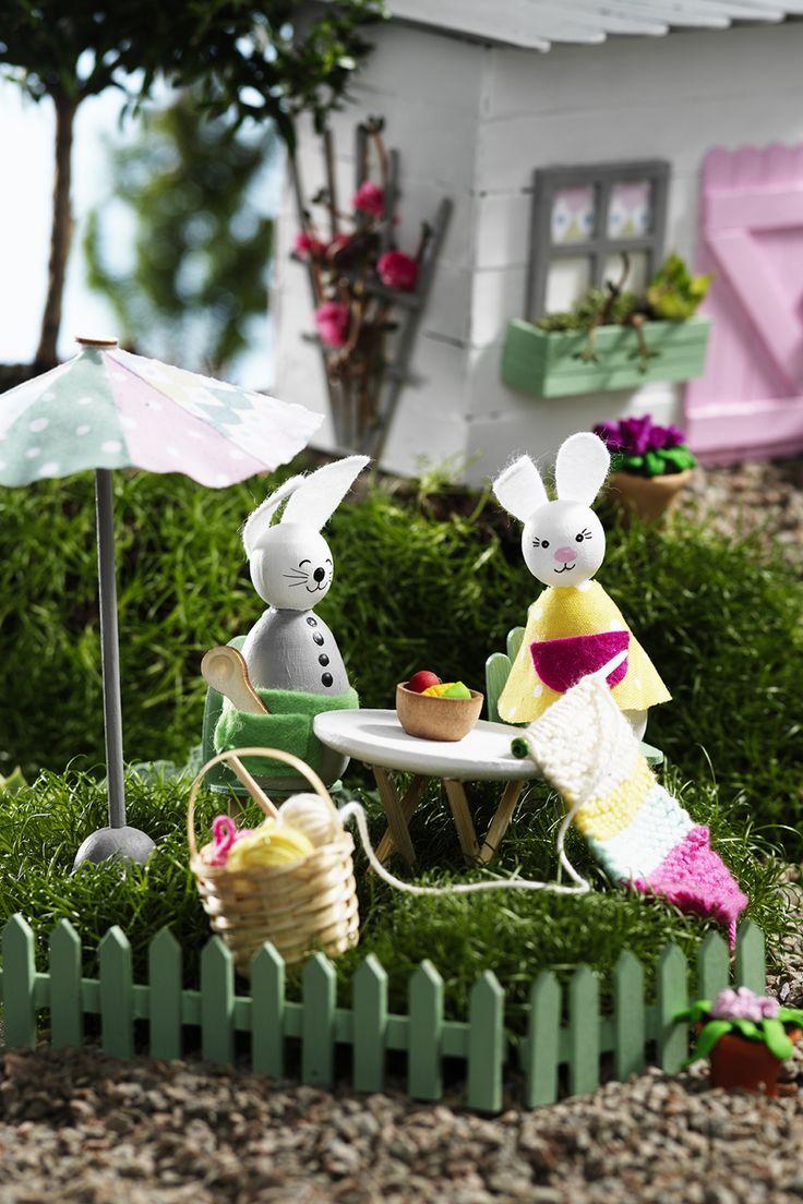 Miniature garden  www.pandurohobby.com Miniature worlds by Panduro #panduro #diy #miniature #miniatyr #miniland  #easter #påsk #pyssel #påskhare #easterbunny #mini #fairy #garden #pixie #miniatures