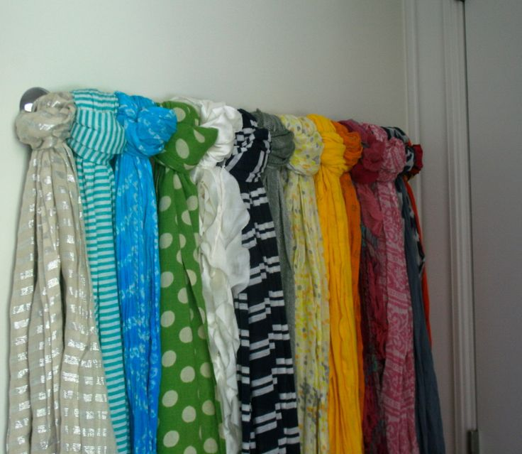 towel bar - scarf organization maybe put scarfs on shower curtain rings instead of tying