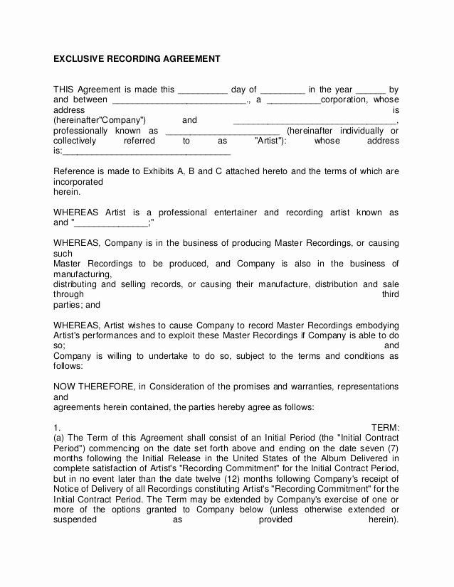 Artist Management Contract Template Lovely Artist Recording Contract 3 Contract Template Printable Label Templates Label Templates
