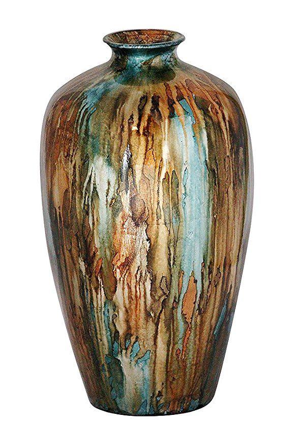 Heather Ann Creations Ruth Ceramic Vase Decorative Water Jar Floor Bronze Blue Gold Affiliate Aflink