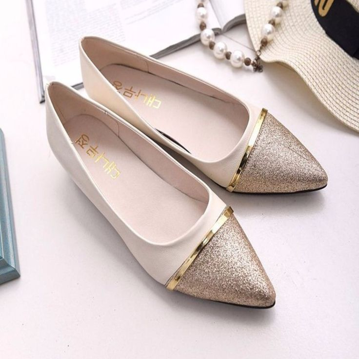 A great finishing touch to your casual look. Constructed with slip on closure, pointed toe with glitter and gold strap detail, invisible height increasing heel. Crafted from rubber, PU, patent leather