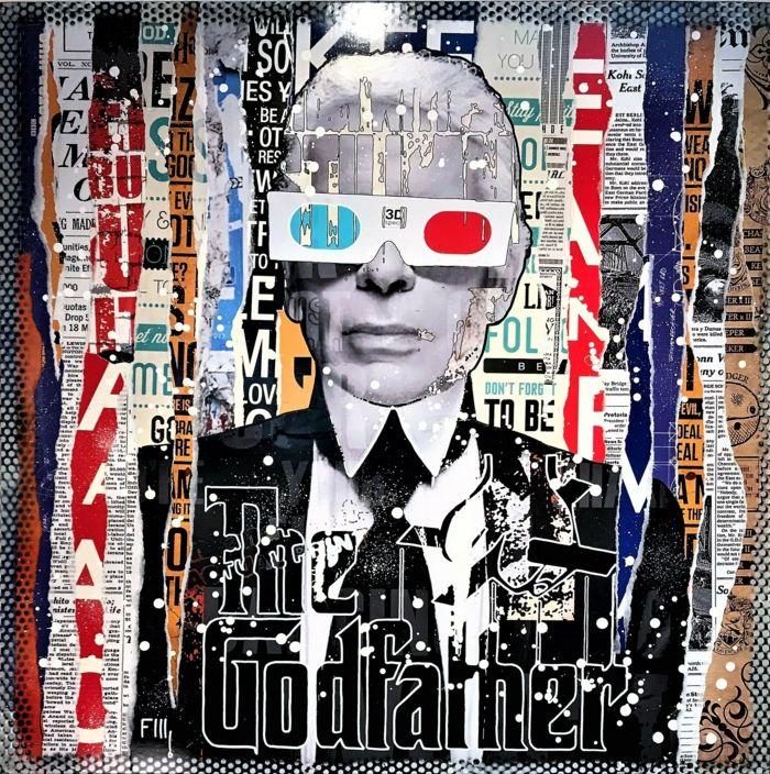 artiste contemporain Franck Lamboley avec le portrait de Karl Lagerfeld qui porte des lunettes 3D avec lentille rouge et lentille bleue, collages de mots et des parties de phrases style pop art, des éléments de déchirures de journaux