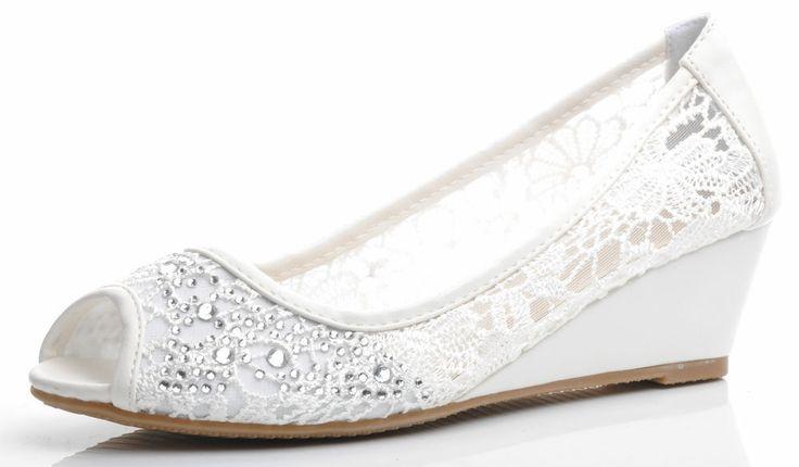 Off White Lace Diamante Peeptoe Wedding Bridal Low Wedge Shoes UK 3 4 5 6 7 7.5 #Unbranded #Wedge