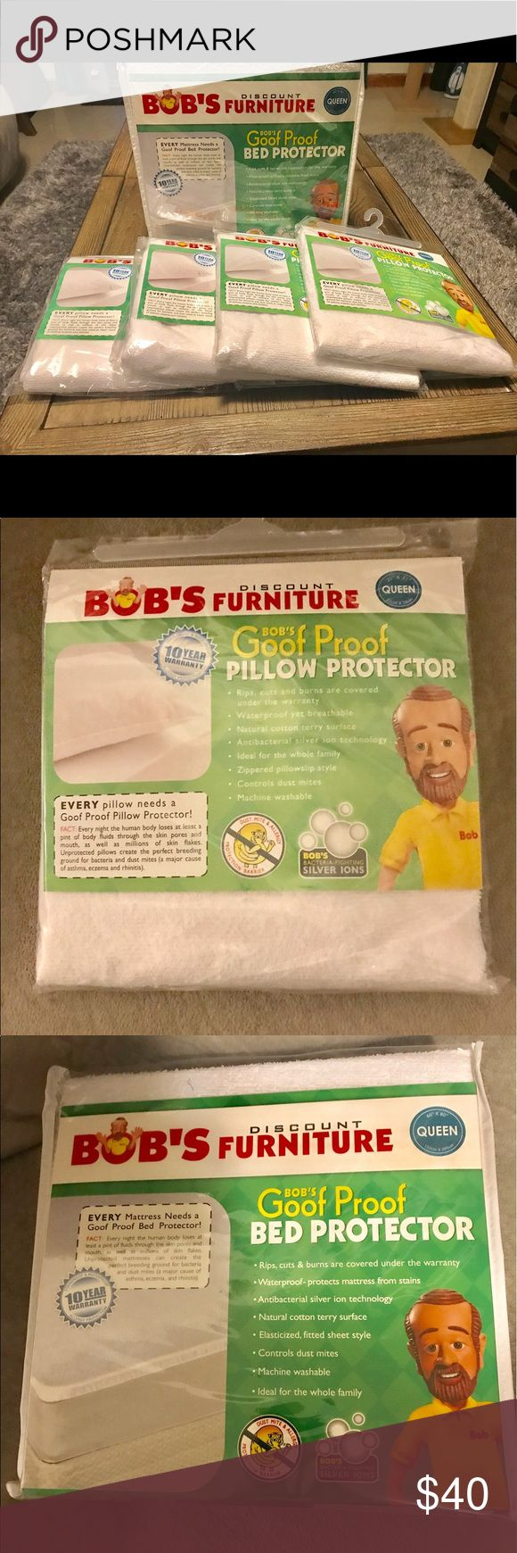 Bob's bed protector and pillow protectors Bob's furniture queen size bed protector and 4 queen size pillow protectors. Brand new in packaging. Bed protector retails for $69 and each pillow protector for $19. That is $145 total. Get great deal here. Other