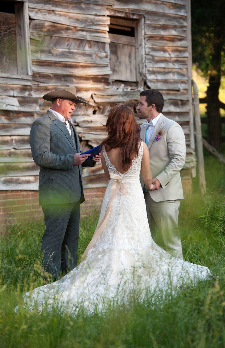 Dream Wedding | Southern Wedding | Wedding Kiss | Romantic Wedding | Rustic Wedding | Sunset Wedding | Trees | Lace Wedding Dress | Long Hair | Bride | Groom | Outside | Farm Wedding | Cowboy Preacher | GetzCreative