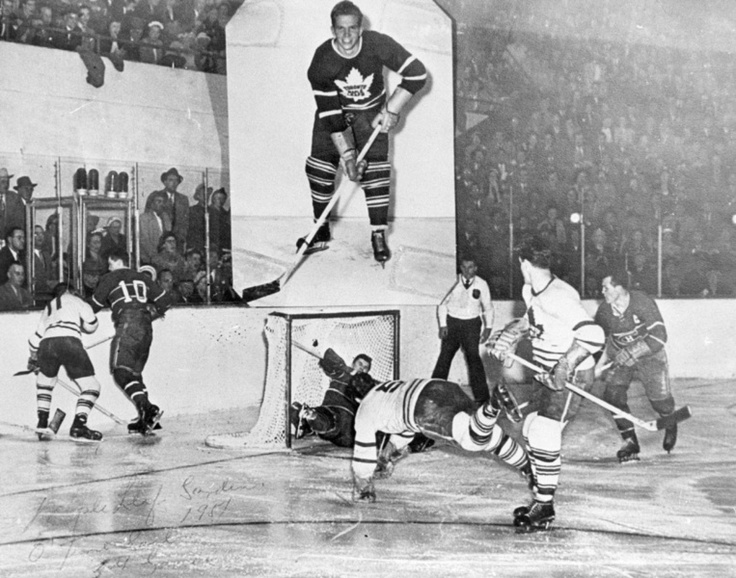 The winning goal by Bill Barilko in 1951 at the Stanley Cup between the Leafs and the Canadiens.