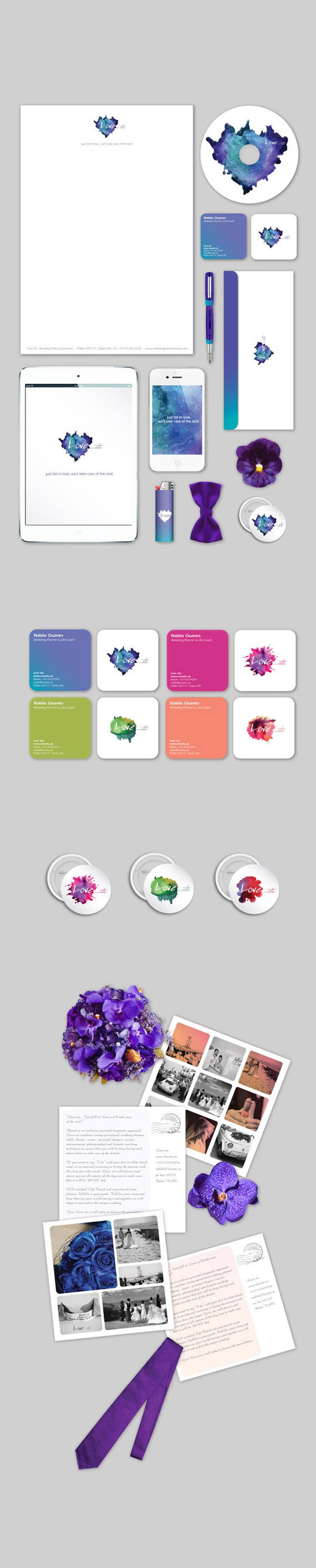 Paint splatter logo and #stationary. I love the bright colors within the simple, modern design.