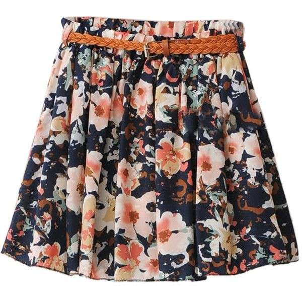 Choies Navy Magnolia Floral Mini A-line Skirt With Belt ($17) ❤ liked on Polyvore featuring skirts, mini skirts, bottoms, multi, floral print skirt, navy blue mini skirt, navy skirt, navy blue a line skirt and floral printed skirt