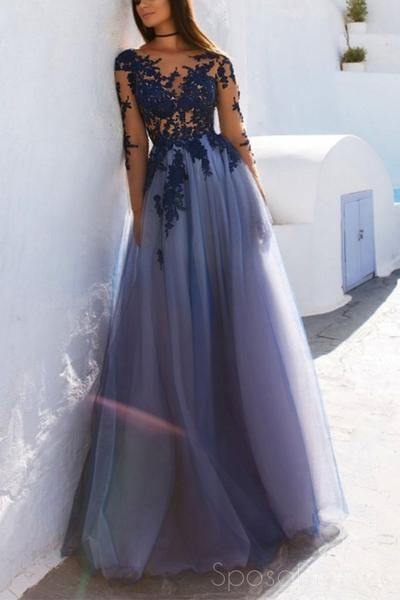 Sexy See Through Blue Lace Long Sleeve Open Back Custom Long Evening Prom Dresses, 17482