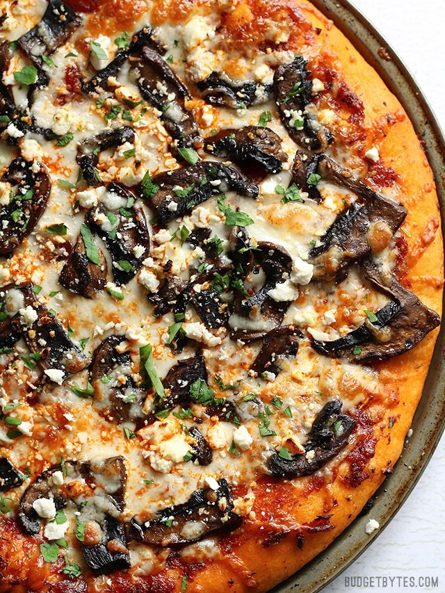 Ultimate Portobello Mushroom Pizza is a gourmet pie for a frozen pizza price - BudgetBytes.com
