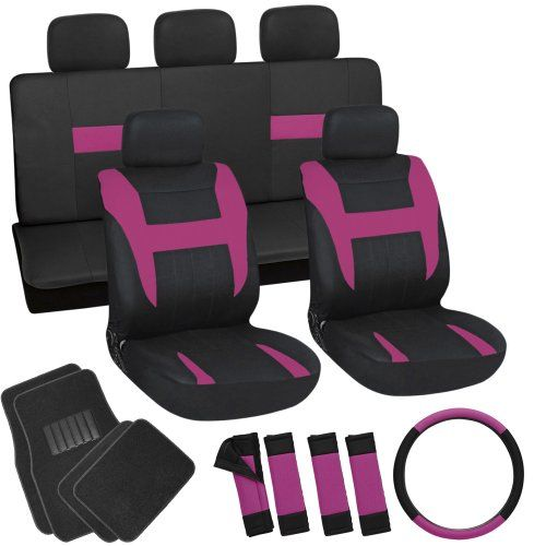 OxGord 21pc Black & Pink Flat Cloth Seat Cover and Carpet Floor Mat Set for the Kia Soul Hatchback, Airbag Compatible, Split Bench, Steering Wheel Cover Included Oxgord http://www.amazon.com/dp/B00H7HZW7K/ref=cm_sw_r_pi_dp_9cqLtb1ZCDSR1AHK