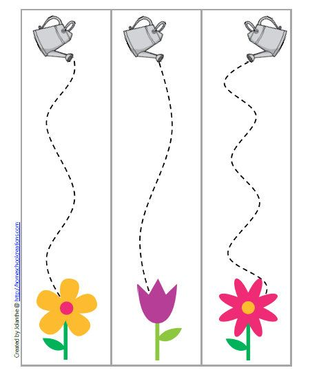 Use a crayon and follow the line from the watering can to the flower.