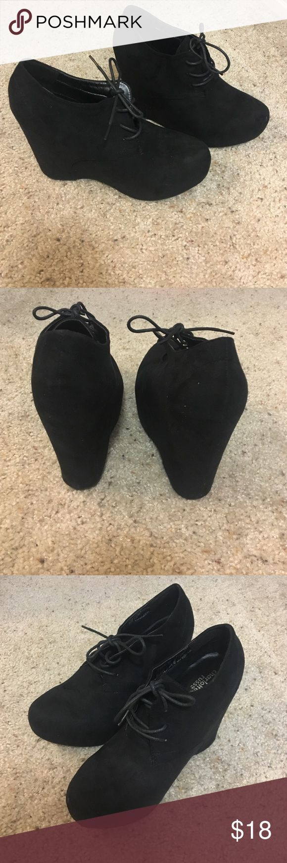 Black booties Size 10 booties! They go great with any outfit. Never worn these, still in the box because I have another pair just like it that I tend to wear instead. Shoes Ankle Boots & Booties