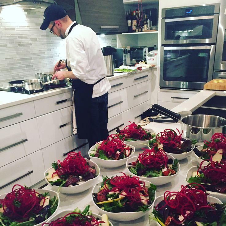Chef Brenden Johnstone in action! Beet salad prepping.