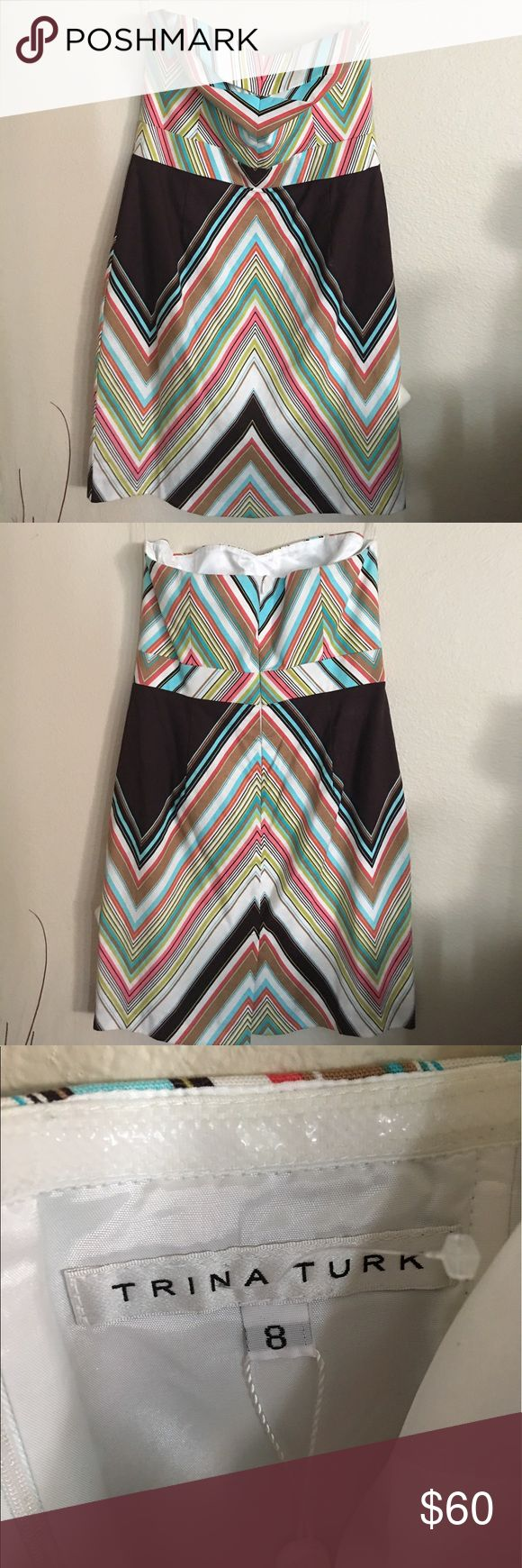 🎉1Day Sale🎉Trina Turk Animal Print Strapless Dre NWT Trina Turk Cora Strapless Striped Dress. Multi-color Summer Dress. Trina Turk Dresses Strapless