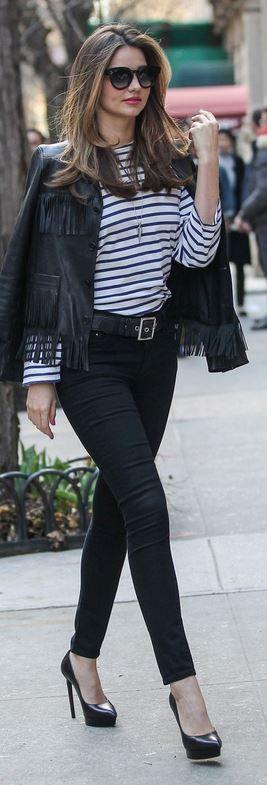 Miranda Kerr: Sunglasses – Celine  Jacket – Saint Laurent  Shirt – VELVET x Lily Aldridge