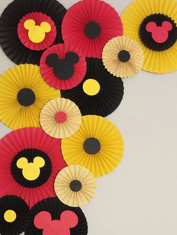 Paper Rosettes Mickey Mouse Birthday Decor by LavishInspirations