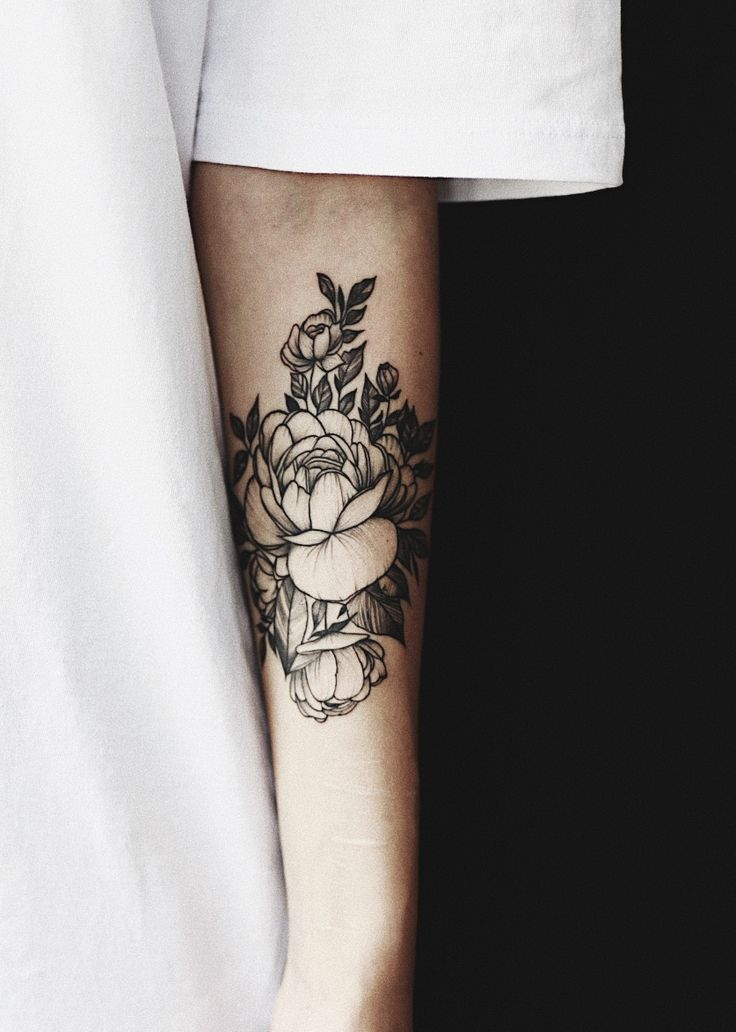 First Peony tattoo on arm by Chun Hack, Saigon. #blacktattoo #peonytattoo #flowertattoo