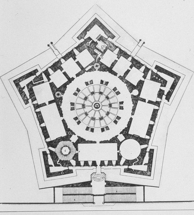 """Caprarola, villa Farnese. """"l'involucro dell'edificio si ispessisce cosi tanto da diventare abitato, costruendo un bordo articolato all'interno e un volume nettamente geometrico all'esterno"""""""