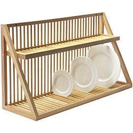 "Wall Mounted Wooden Plate Rack - Large - 32""… pricey… have to do extra work to get it shipped to the US… but probably worth it"