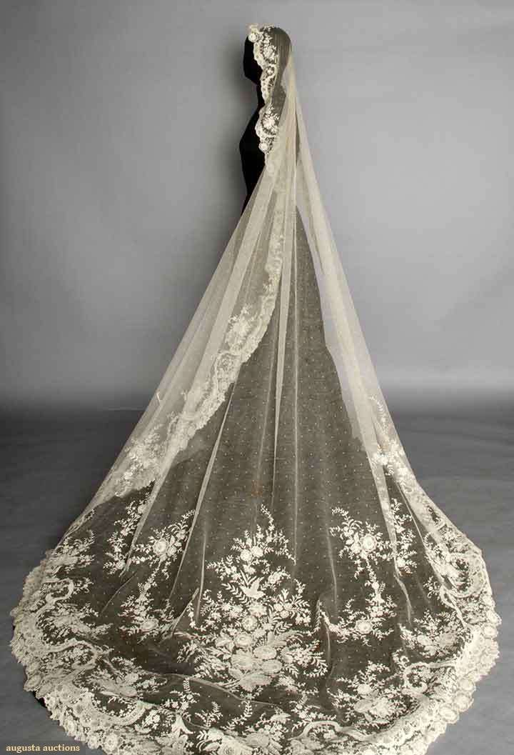 "POINT DE GAZ WEDDING VEIL, c. 1900 Oval, cathedral length, point d'esprit machine-made net w/ fine hand made needle lace flower blossoms, bouquets & garlands, 76"" x 120"""