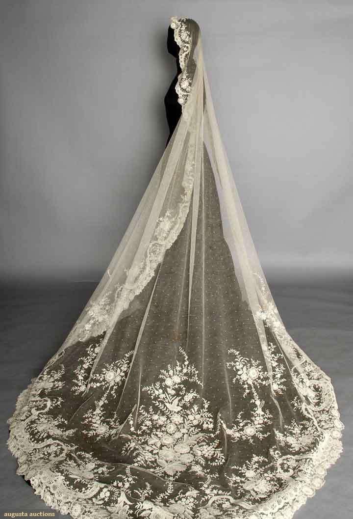 "POINT DE GAZ WEDDING VEIL, c. 1900 Oval, cathedral length, point d'esprit machine-made net w/ fine hand made needle lace flower blossoms, bouquets & garlands, 76"" x 120"""