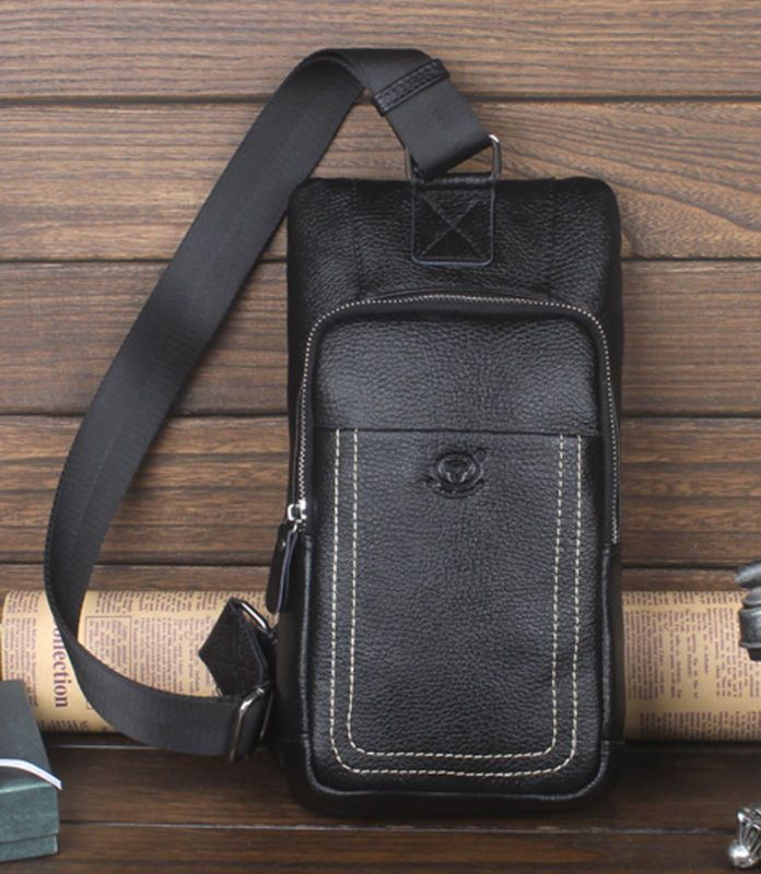 New Men Genuine Leather Cross Body Messenger Shoulder Sling Back Pack Chest Bag