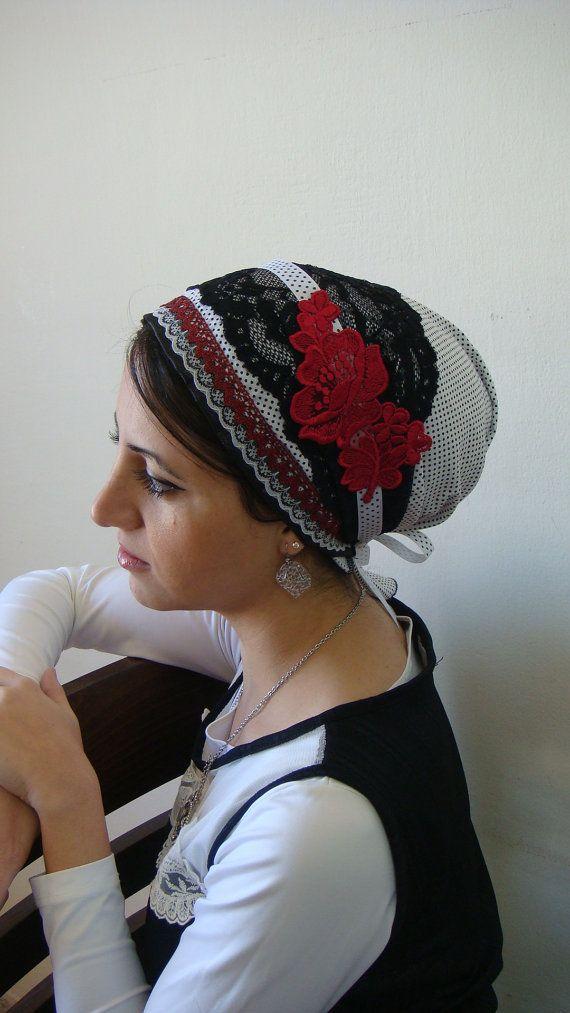 Elegant & comfi cotton tichel headscarf unique apron style designed by OshratDesignz. $41.32, via Etsy.