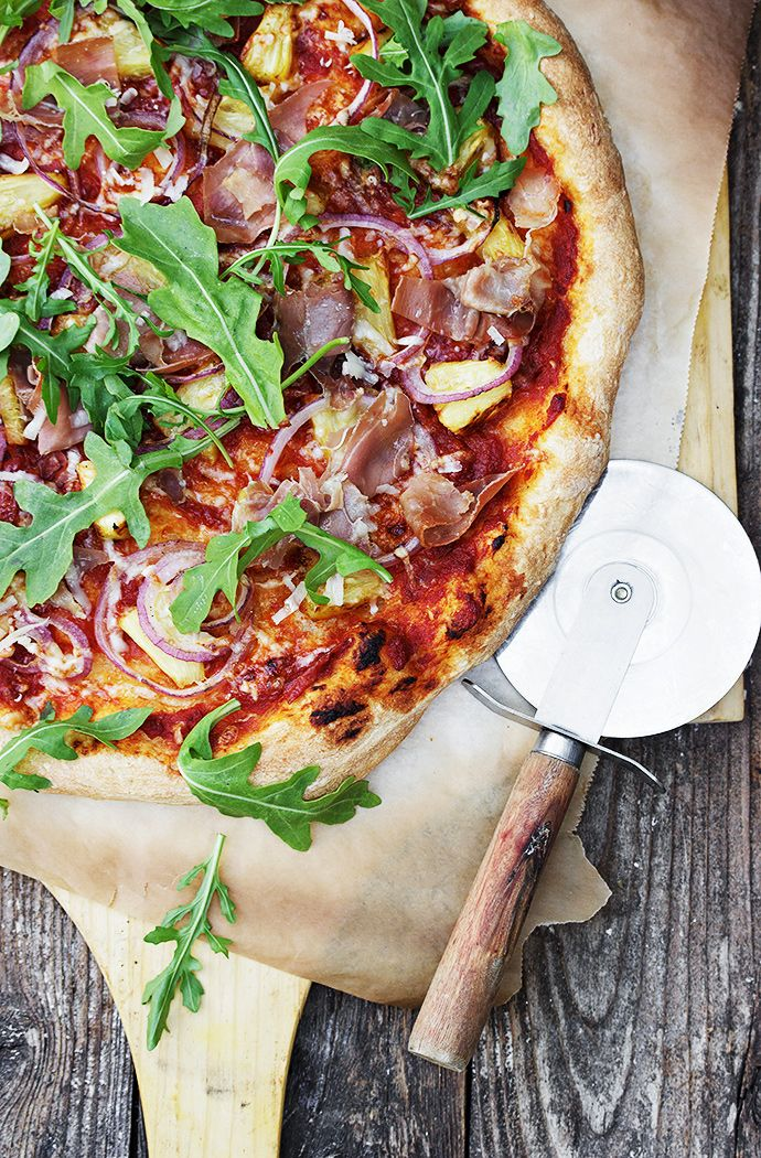 Grilled Pineapple, Prosciutto and Piave Pizza... a fancied-up version of our delivery go-to, the Hawaiian pizza!