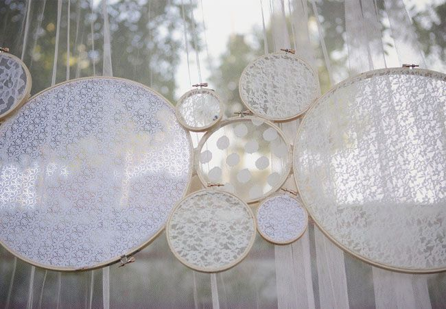 Lace in embroidery hoops as backdrop decoration. Such a precious idea!
